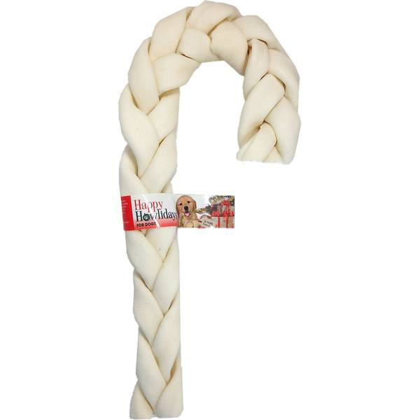 "11""-12"" Beefhide Holiday Braid Cane"