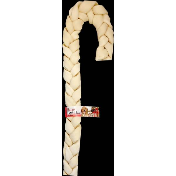 "16""-17"" Beefhide Holiday Braid Cane"