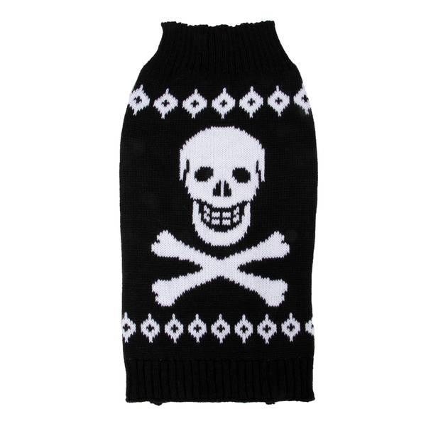 Black Skull and Crossbones Pet Sweater