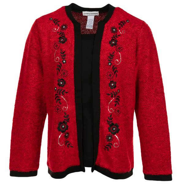 9761c584f2f47 Women s Plus Size Long Sleeve Jewel Embroidered Cardigan Red   Black. Cathy  Daniels ...