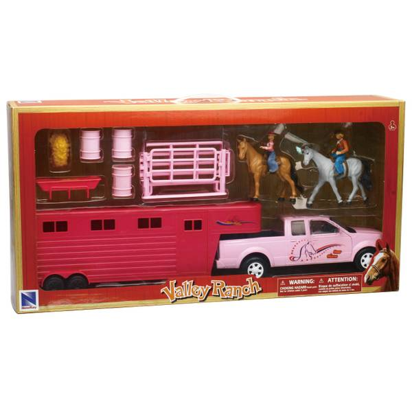 1:20 Pink Pickup with Horse Trailer
