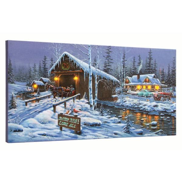 """10"""" x 20"""" Holiday Gathering LED Canvas"""