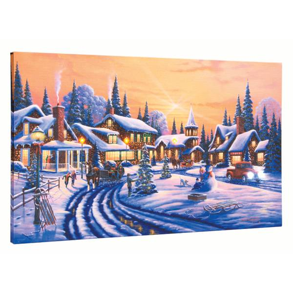 "12"" x 20"" Christmas Village LED Canvas"