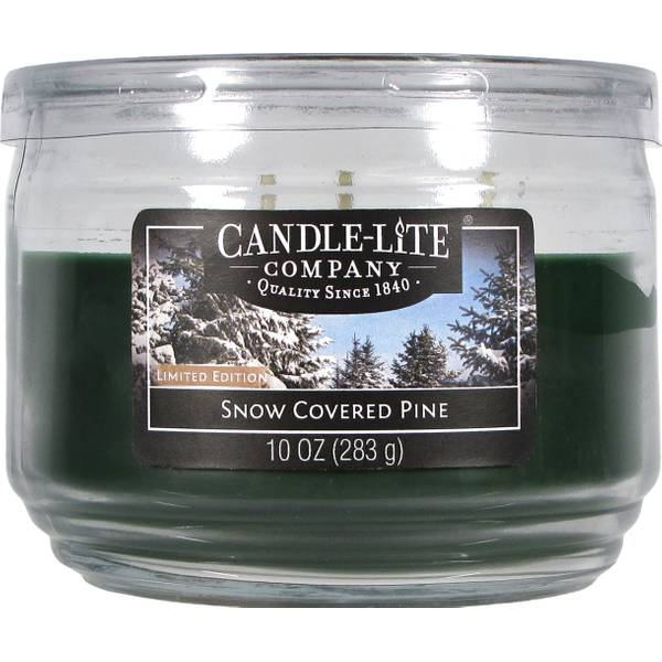 10 oz 3 Wick Snow Covered Pine Jar Candle