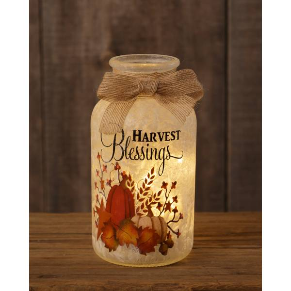 Harvest Blessings Frosted Glass Luminary