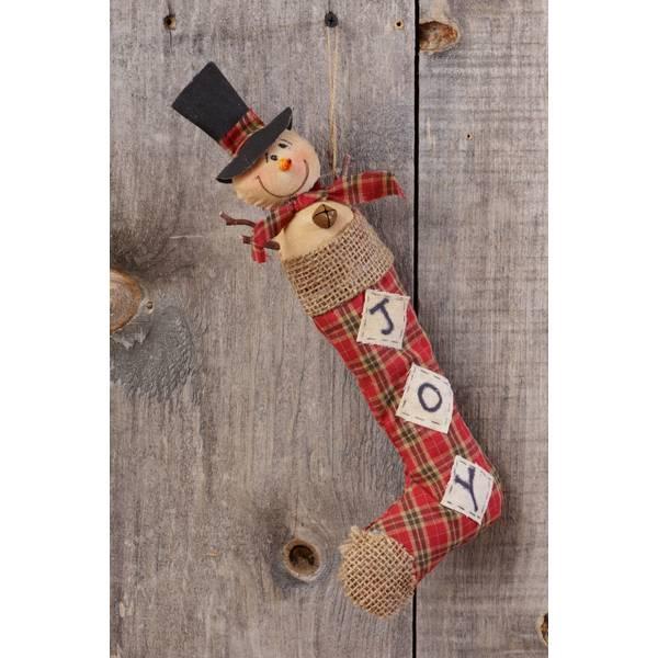 Joy Plaid Snowman Stocking