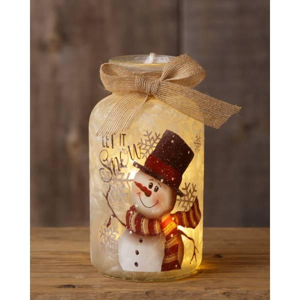 Snowman Small Glass Jar with Lights