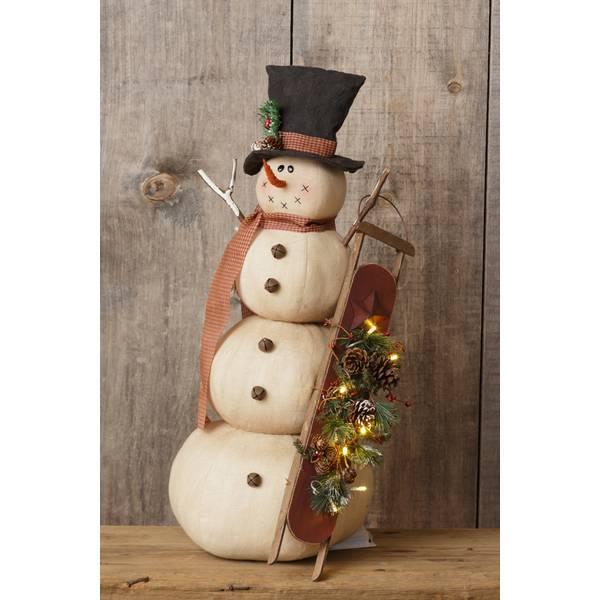 Snowman Holding Sled