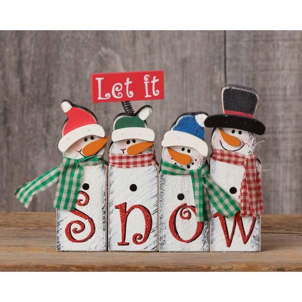 "8"" Let It Snow Snowmen Block Sign"