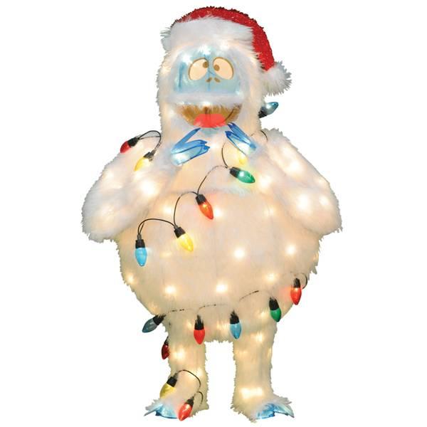 "32"" 3D Bumble Tinsel 80 Lights Pre-Lit Christmas Yard Art"