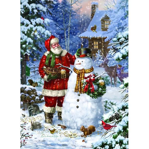 18-Count Santa Making a Snowman Cards