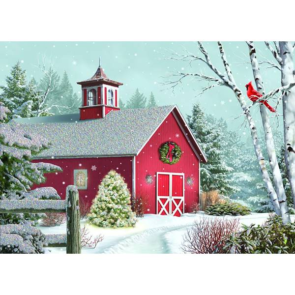 14-Count Winter Barn Christmas  Cards
