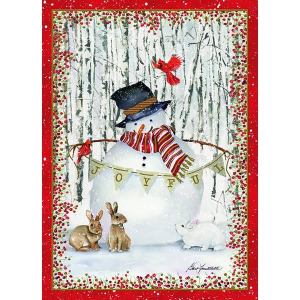 14-Count Joyful Snowman Foil Holiday Cards
