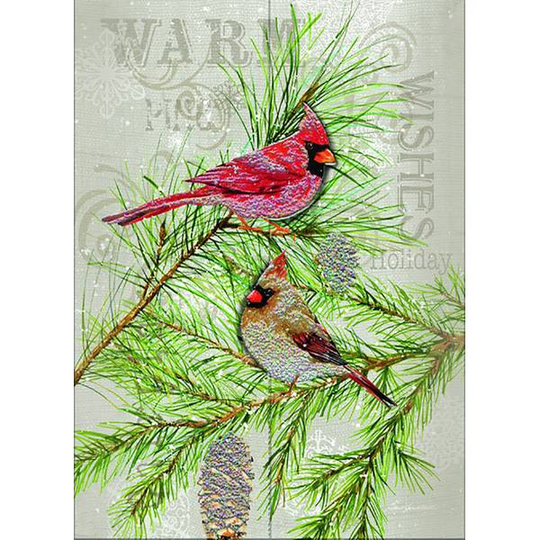 12-Count Cardinals on Pine 3-D Holiday Cards