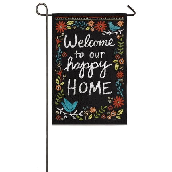 Welcome to Our Happy Home Garden Flag