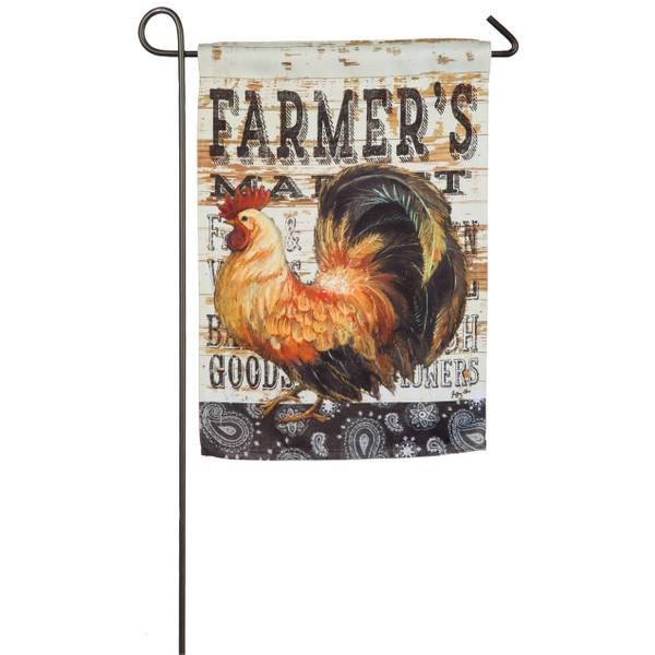 Wood Backed Rooster GardenFlag