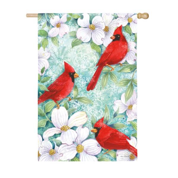 Cardinals and Dogwood House Flag