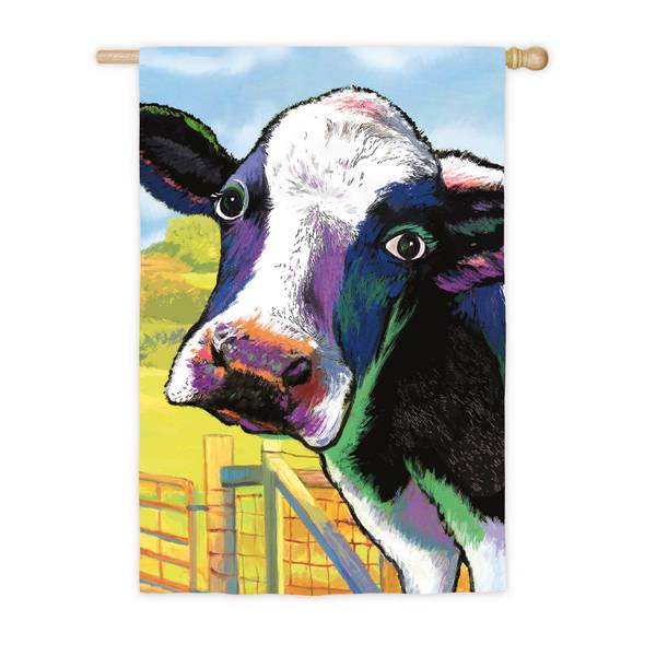 Colorful Cow House Flag