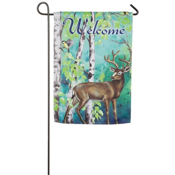 Deer and Birch Trees Garden Flag