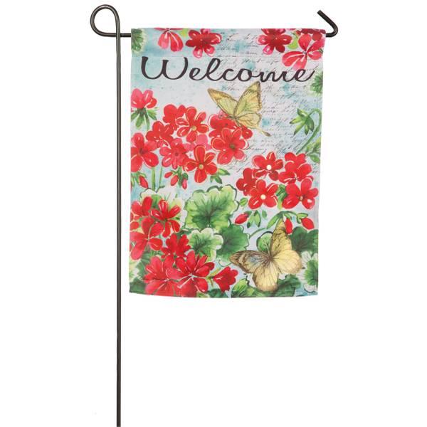 Geranium w/Ylw Butterflies Garden Flag