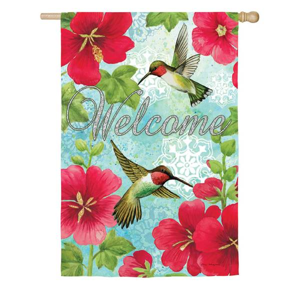 Hummingbird & Hollyhock Garden Flag