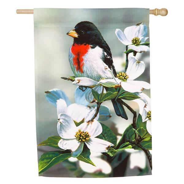 Springtime Grosbeak House Flag