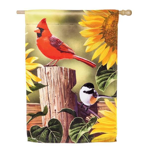 Sunflowers and Songbirds House Flag