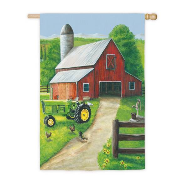 Tractor in a Barn House Flag