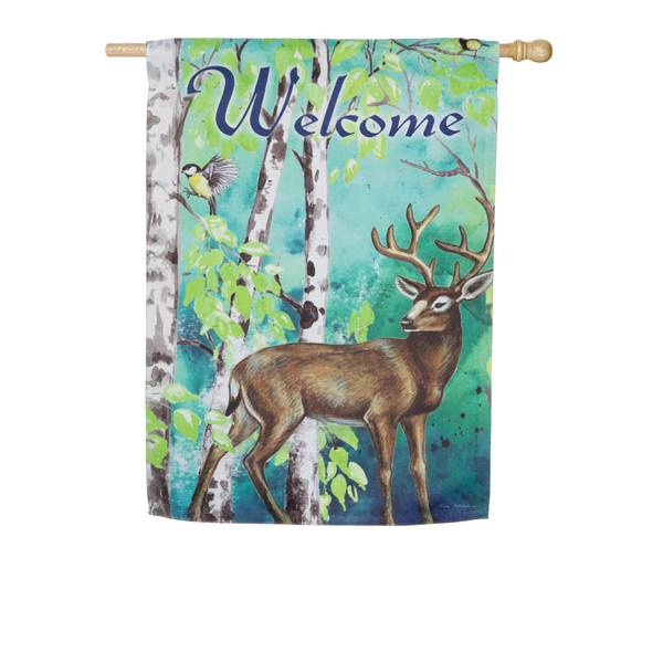 Deer and Birch Trees House Flag