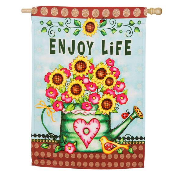 Enjoy Life Watering Can House Flag