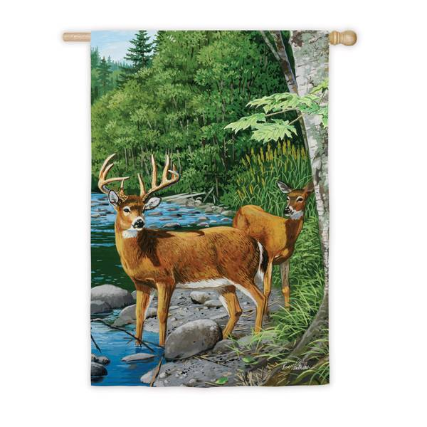 White Tail Deer House Flag