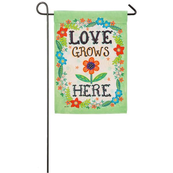 Love Grows Here Garden Flag