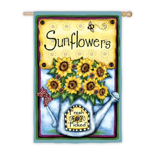 Fresh Picked Sunflowers House Flag