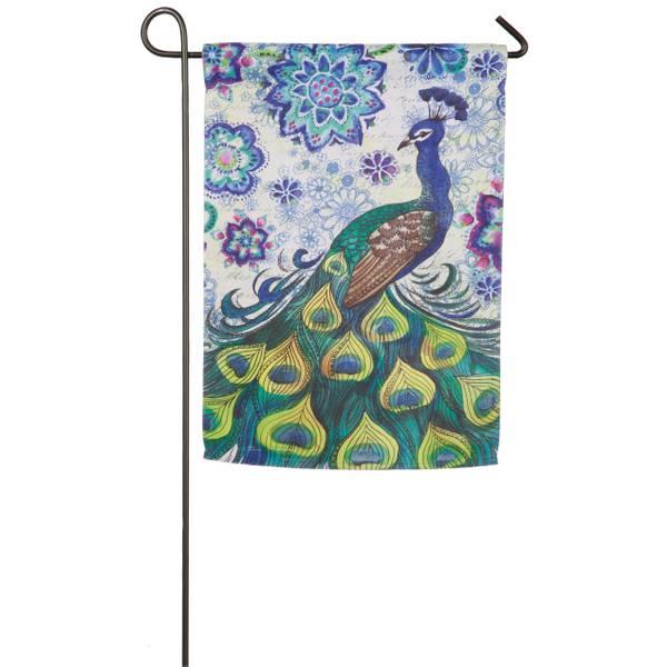 Evergreen Enterprises Watercolor Peacock Garden Flag