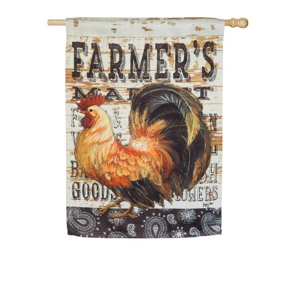 Wood Backed Rooster House Flag