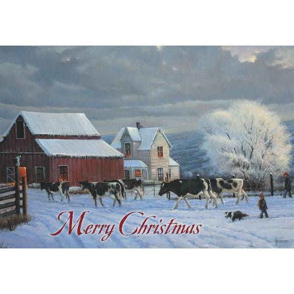 10-Count Winter Cow Classic Christmas Cards