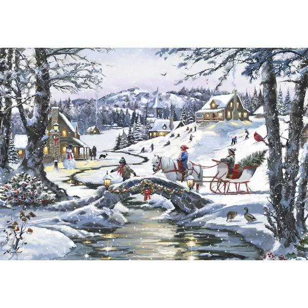 10-Count Christmas Sleigh Classic Christmas Cards