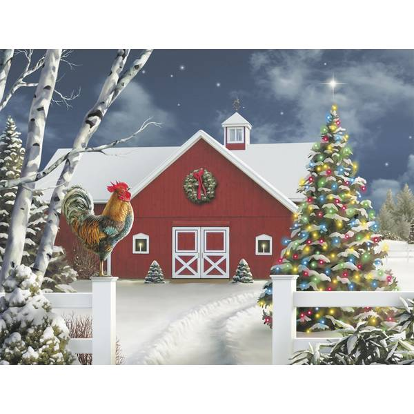 12-Count Red Barn Notelet Christmas Cards