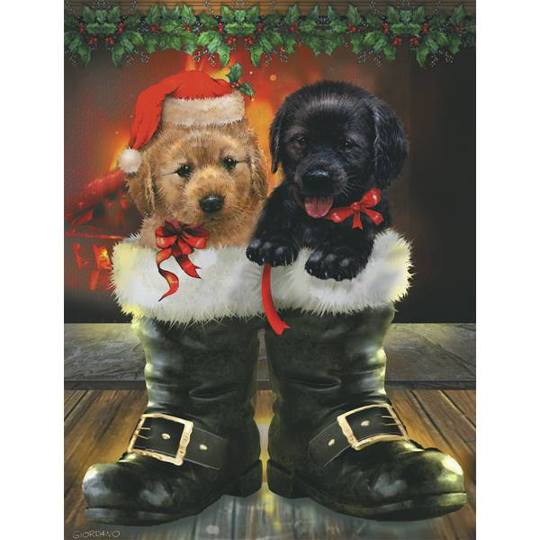 12-Count Puppies Notelet Christmas Cards