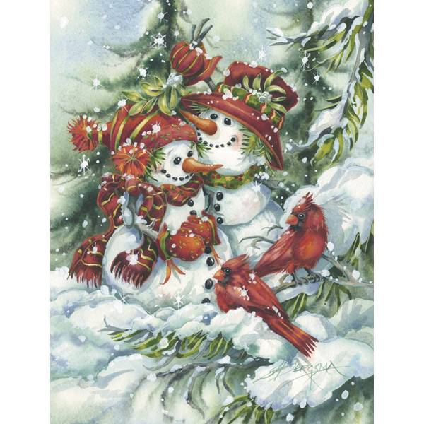 12-Count Snowman Couple Notelet Holiday Cards