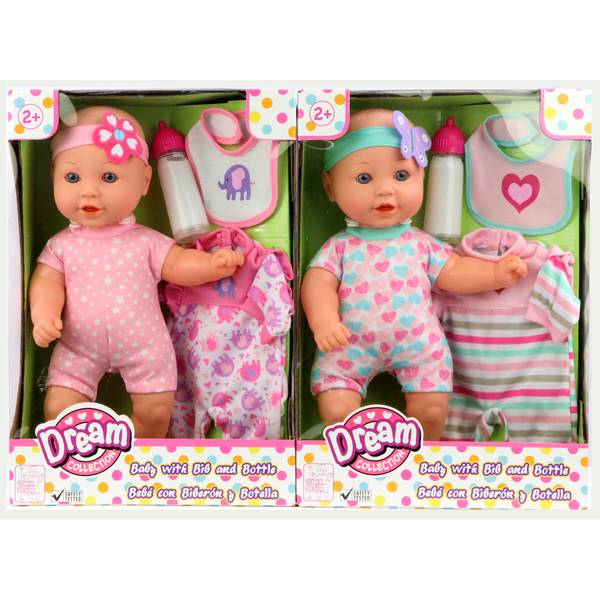 "12"" Baby Doll with Bib and Bottle Assortment"