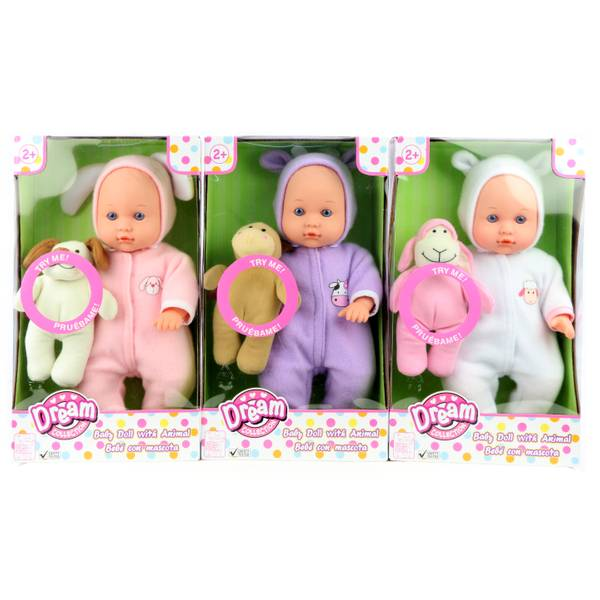 "12"" Baby Doll with Animal Assortment"
