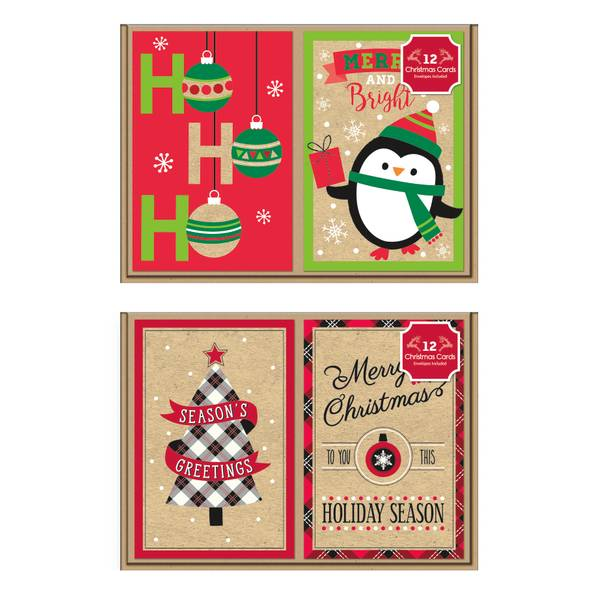 12-Count Kraft Christmas Cards