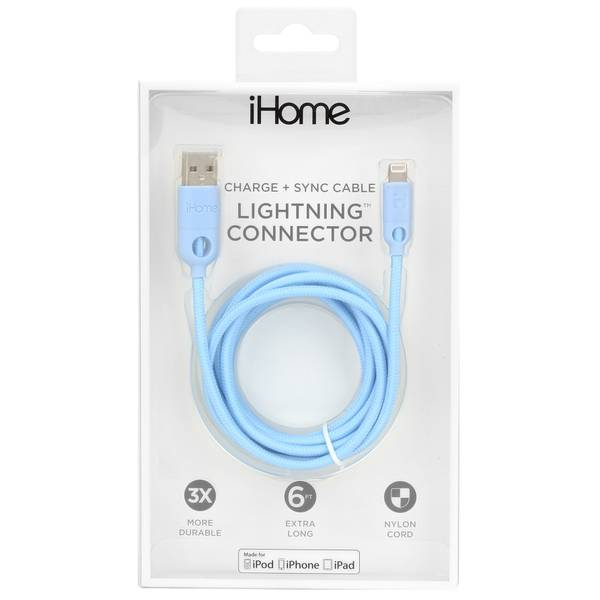 6' Dual Lightning Cable Pastel Blue