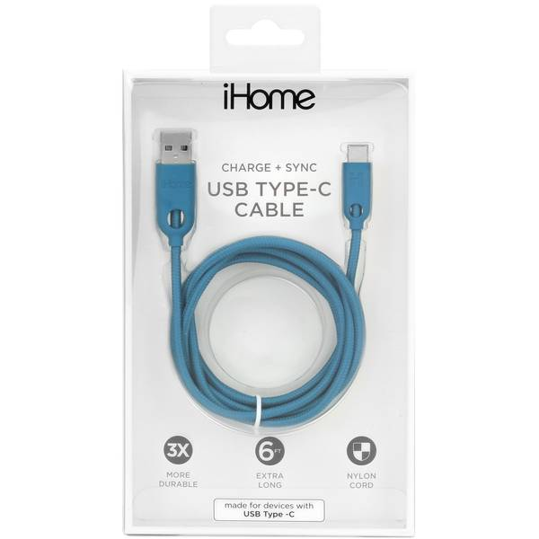 6' Dual Type C Cable Teal