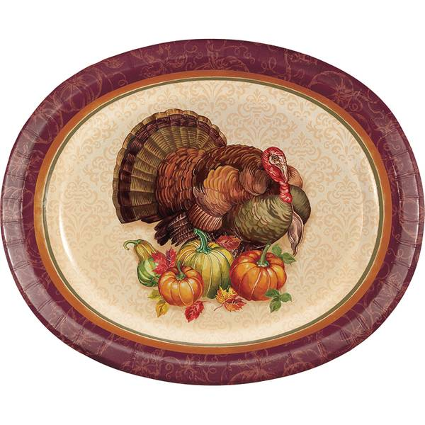 Thanksgiving Turkey Oval Platter 8 ct