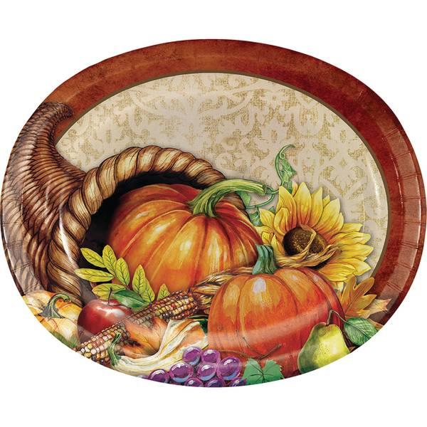 Bountiful Thanksgiving Oval Platter 8 ct