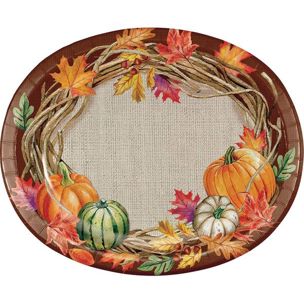 Harvest Wreath Oval Platter 8 ct