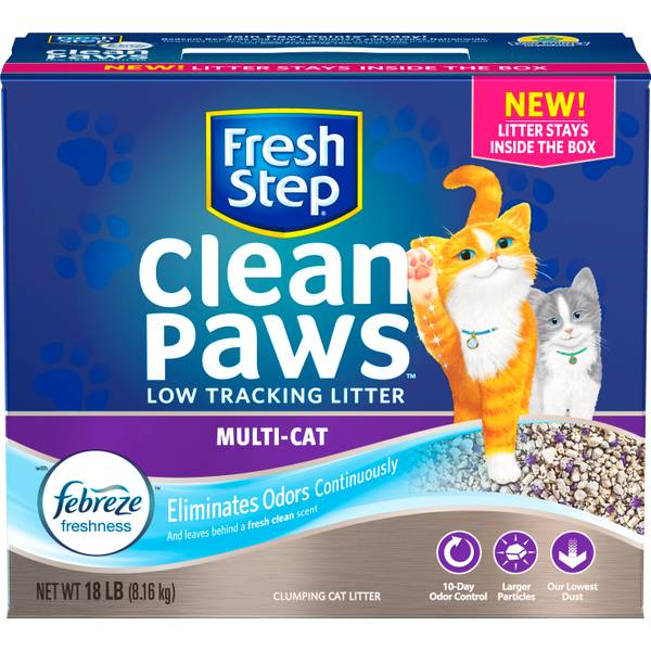 18 lb Fresh Step Clean Paws Multi Cat Litter