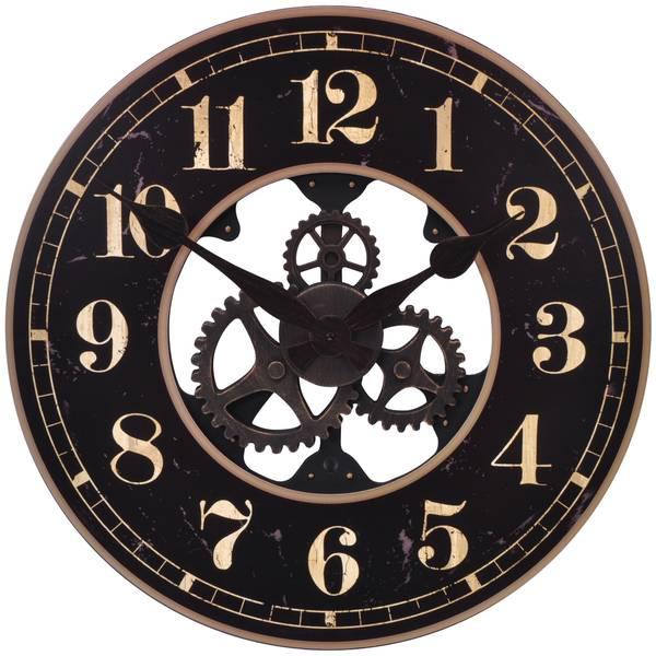 "21.75"" Antiqued Black Gear Clock"